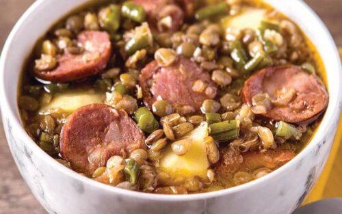 Sopa de lentilha com calabresa – 500g